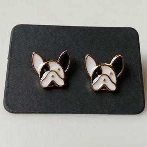 🆕 French Bulldog White/Black Small Stud Earrings